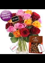 Catalogues et collections Florajet : 15 superbes roses + vase offert + chocolats offerts = 27€
