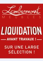 Prospectus Meubles Lambermont  : Soldes et liquidation avant travaux