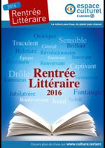Prospectus Espace culturel E.Leclerc : Rentrée littéraire 2016