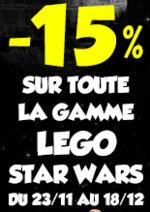 Promos et remises  : -15% sur toute la gamme Lego Star Wars