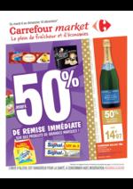 Prospectus Carrefour Market : Jusqu'à 50% de remise immédiate sur des produits de grandes marques !