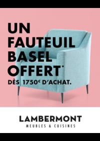 Prospectus Meubles Lambermont  : Un fauteuil Basel offert dès 1750€ d'achat